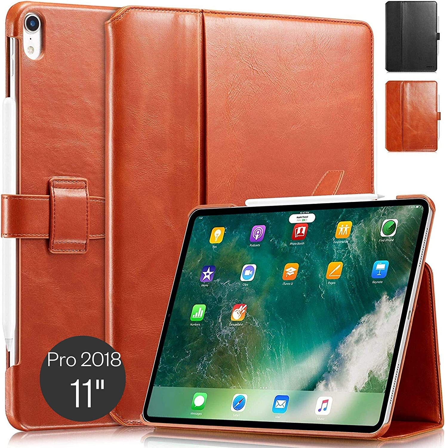 """KAVAJ Case Leather Cover London Works with Apple iPad Pro 11"""" 2018 Cognac-Brown Genuine Cowhide Leather with Pencil Holder Supports Apple Pencil Slim Fit Smart Folio"""