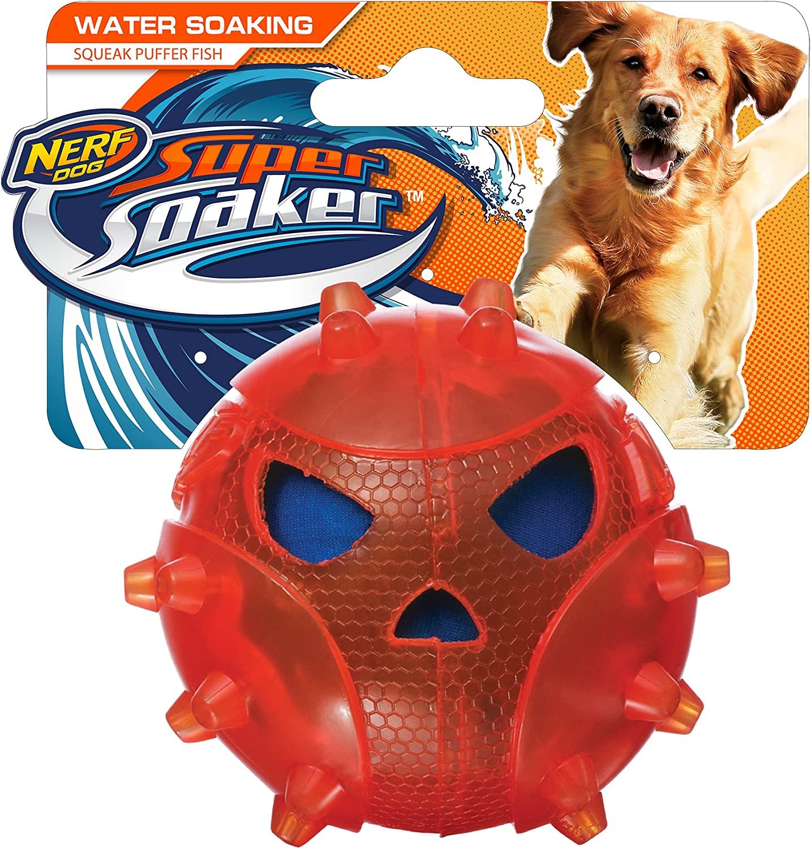 Nerf Dog 3452 Super Soaker Puffer Fish Pet Squeak Toy