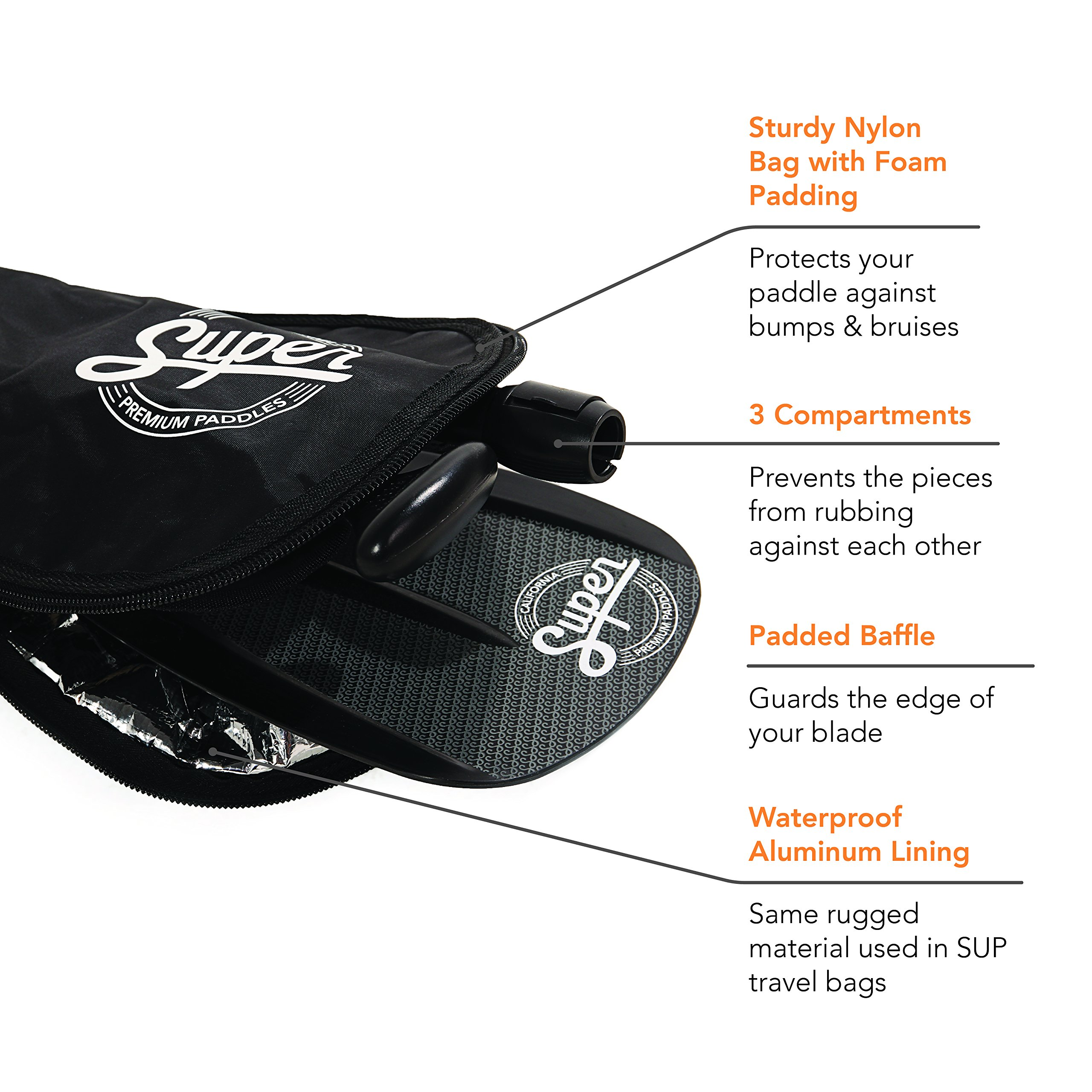 Alloy SUP Paddle - 3-Piece Adjustable Stand Up Paddle with Paddle Bag. Super Paddles - Alloy Series Elite - Aluminum Shaft, Nylon Blade by Super Paddles (Image #6)