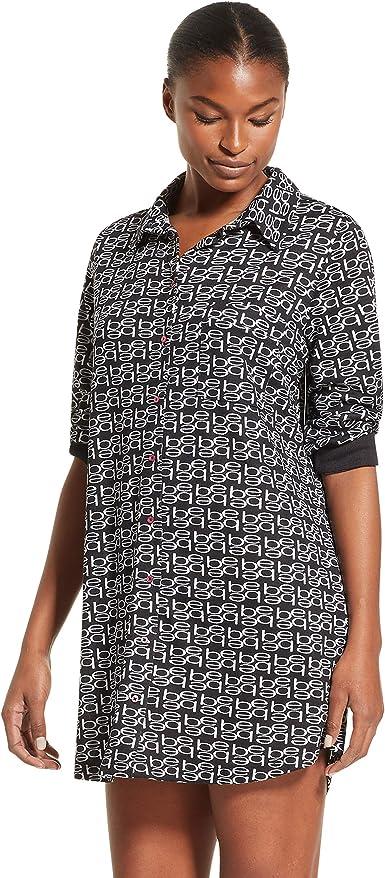 Bebe - Camisa de pijama con logo para mujer - Negro - Large: Amazon.es: Ropa y accesorios