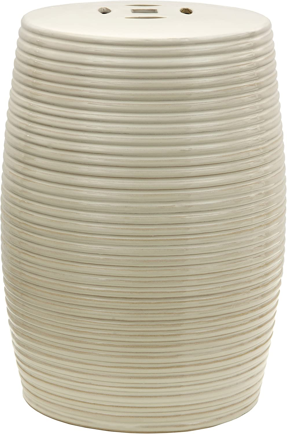 "Oriental Furniture 18"" Beige Ribbed Porcelain Garden Stool"
