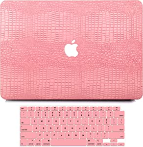 MacBook Air 13 Inch Case 2020 2019 2018 Release A2179 A1932, G JGOO MacBook Air 2020 Case, PU Leather Hard Shell Case with Keyboard Cover for Apple Mac Air 13.3 with Retina Display & Touch ID, Pink