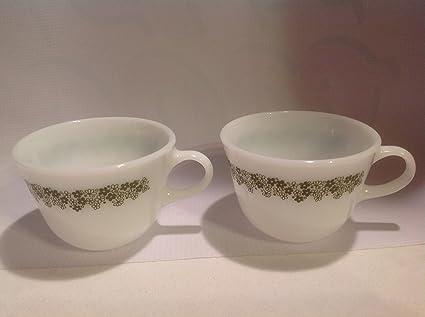 49a9629ddb6 Amazon.com | Vintage Set 2 Pyrex Milkglass Tea Coffee Cups in the ...