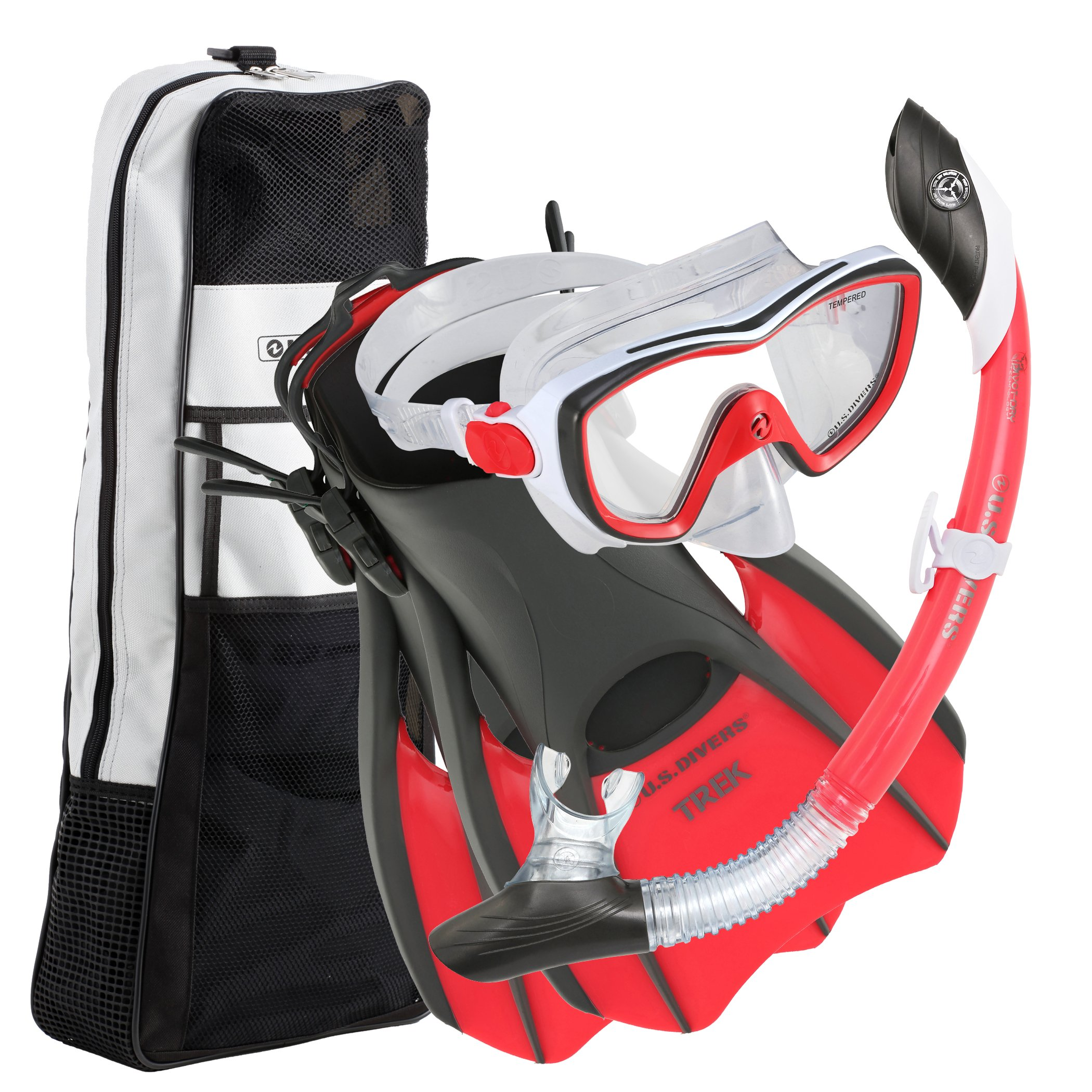 U.S. Divers Diva Women Snorkel Set, Ladies Silicone Mask, Trek Travel Fins, Dry Top Snorkel + Snorkeling Gear Bag - Red/White - Small by U.S. Divers