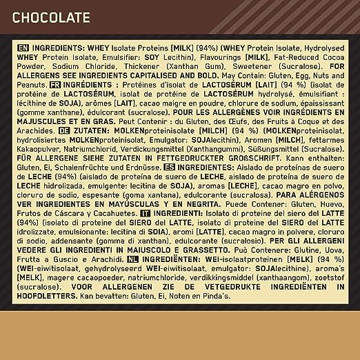 OPTIMUM NUTRITION 100% Gold Standard Isolate, Proteina Whey Isolate en Polvo para Aumentar Masa Muscular, Proteina Isolada, Chocolate, 31 Porciones, ...