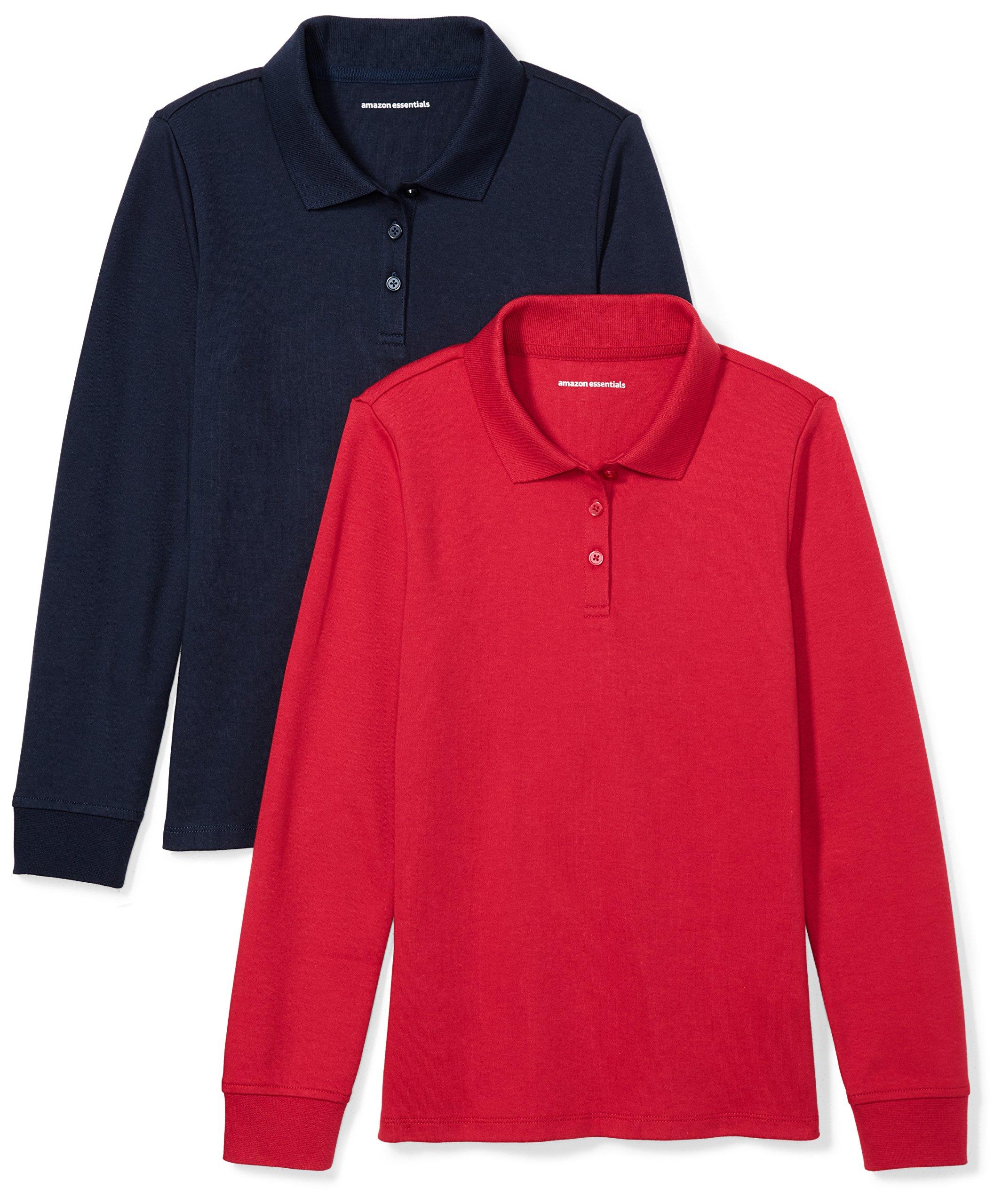 0fc67fd80 Amazon Essentials Girls' 2-Pack Long-Sleeve Interlock Polo Shirt product  image