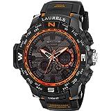 Laurels Digital Orange Day & Date Function Analog Digital Men's Watch (Lo-Digi-ll-1102