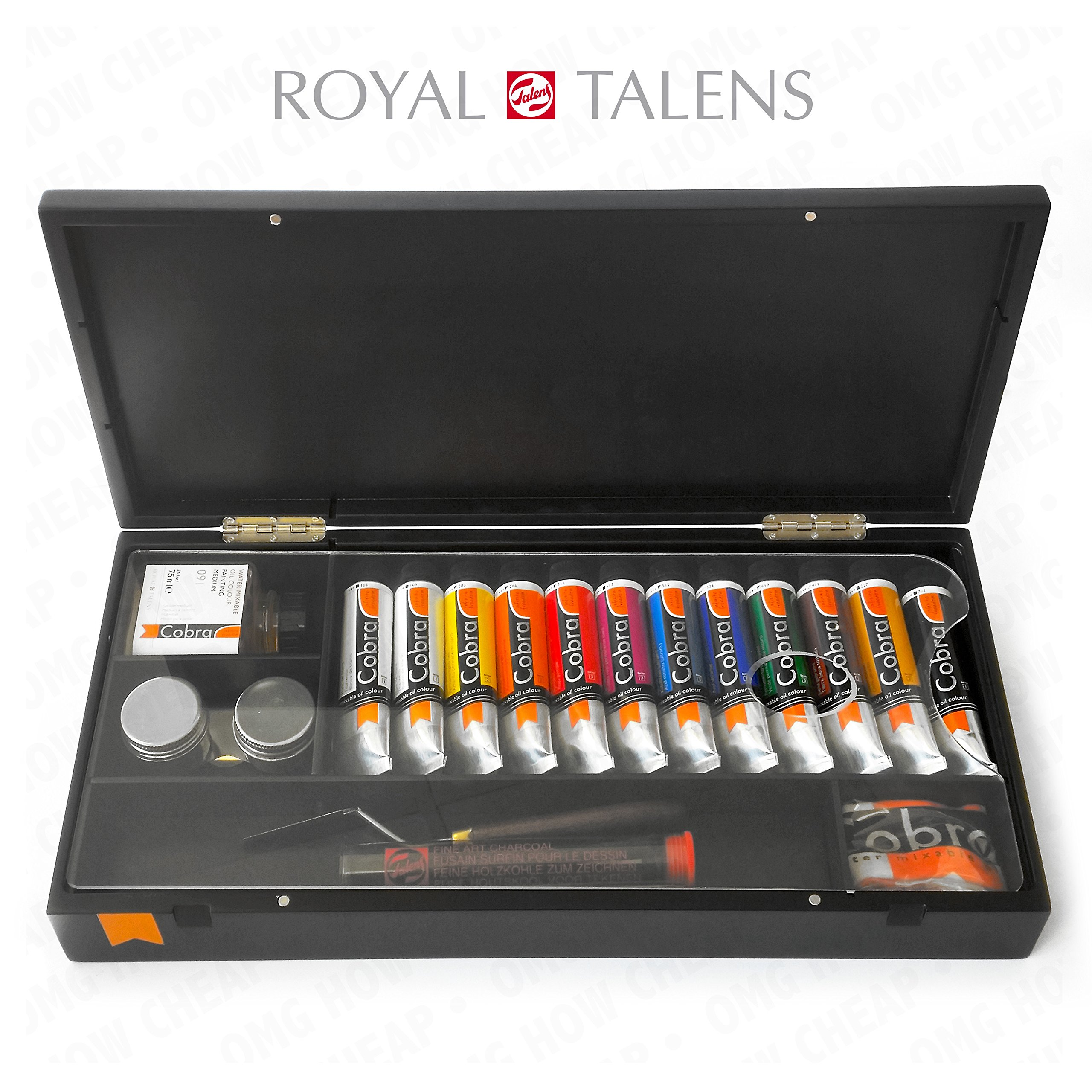 Royal Talens - Cobra Artist Water Mixable Oil Art Set in Premium Black Gift Box - With Paints, Palette, and Brushes
