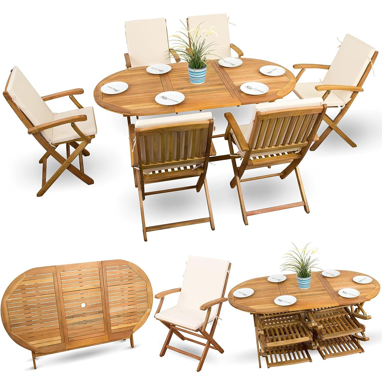 13-tlg Holzmöbel Gartenmöbel Essgarnitur Gartenmöbel Set Sitzgruppe ...