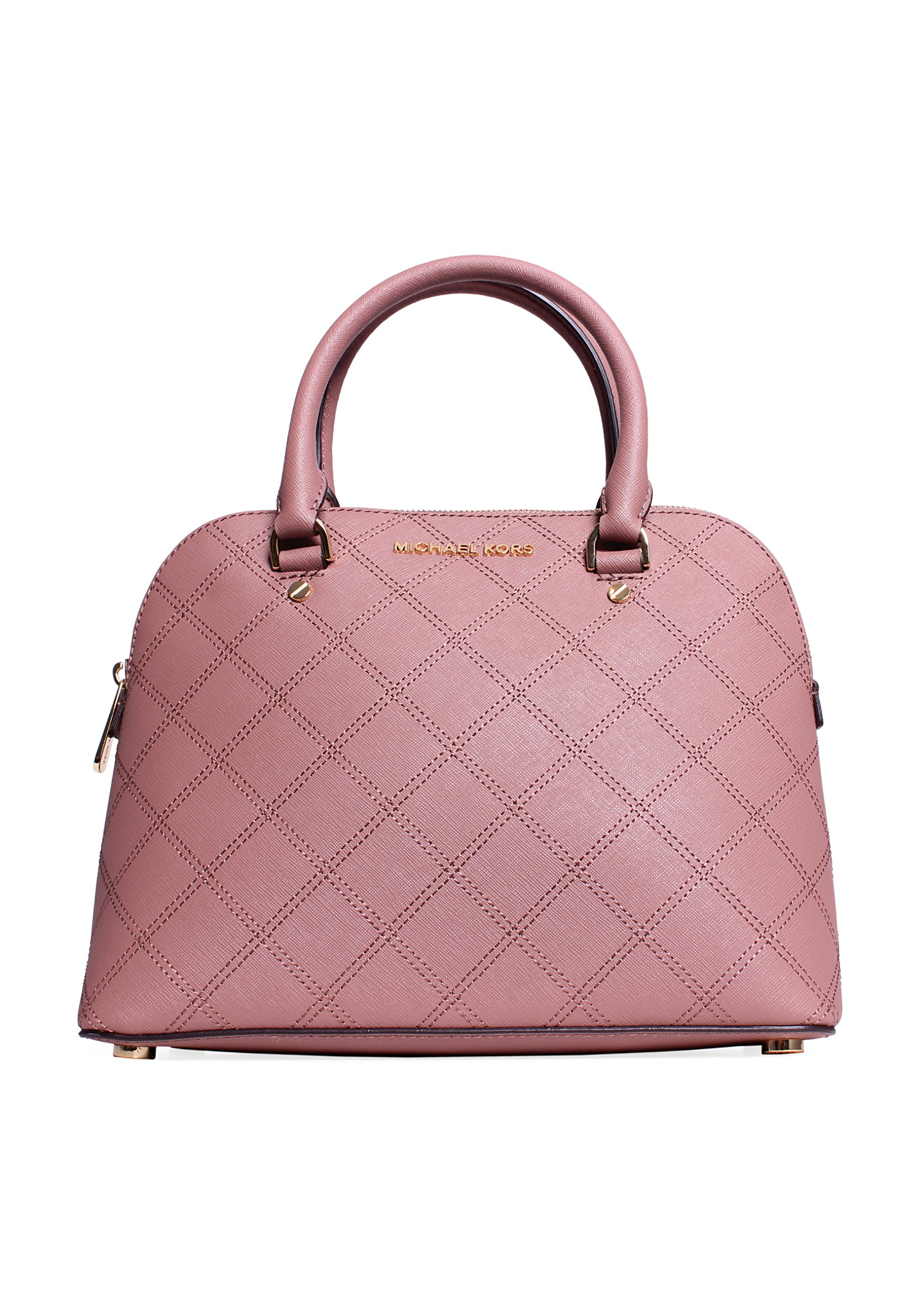 MICHAEL Michael Kors Cindy Quilted Leather Medium Dome Satchel (Dusty Rose)
