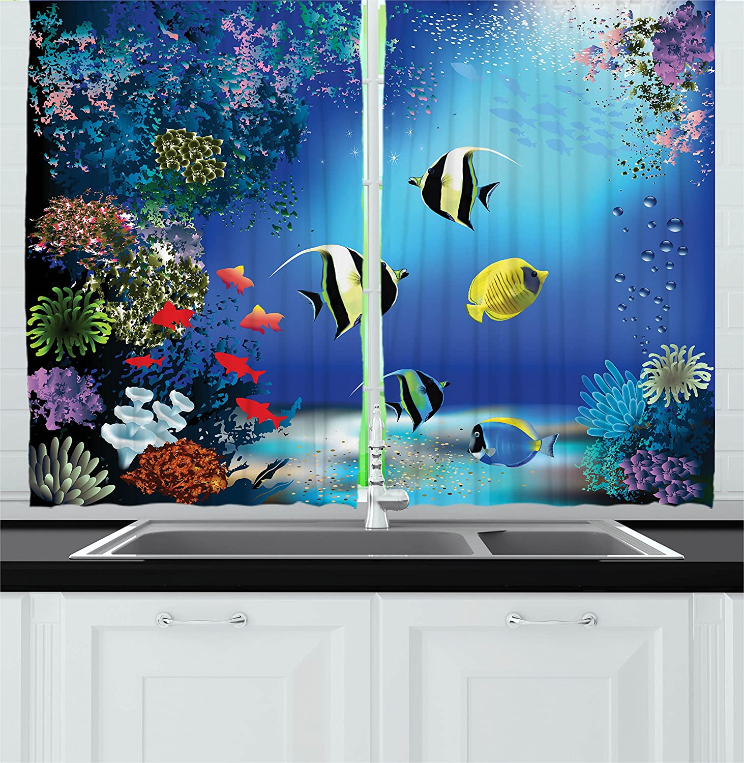 Amazon Underwater Kitchen Curtains By Ambesonne Tropical Undersea With Colorful Fishes Swimming In The Ocean Coral Reefs Artsy Image Window Drapes 2