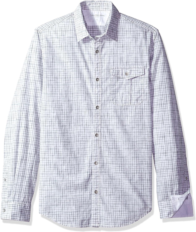 Calvin Klein Hombre 41F7086 Manga Larga Camisa de Botones - Blanco - Large: Amazon.es: Ropa y accesorios