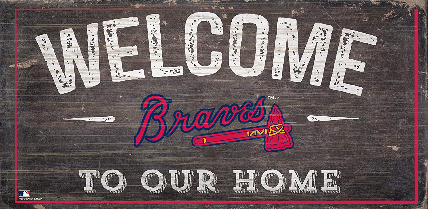 """Braves 12"""" x 6"""" Distressed Welcome To Our Home Wood Sign"""