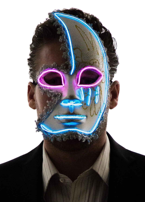 Neon Nightlife Men's Light Up Half Face Venetian Sparkle Mask HALF-FACE-MASK-BLUE-PINK