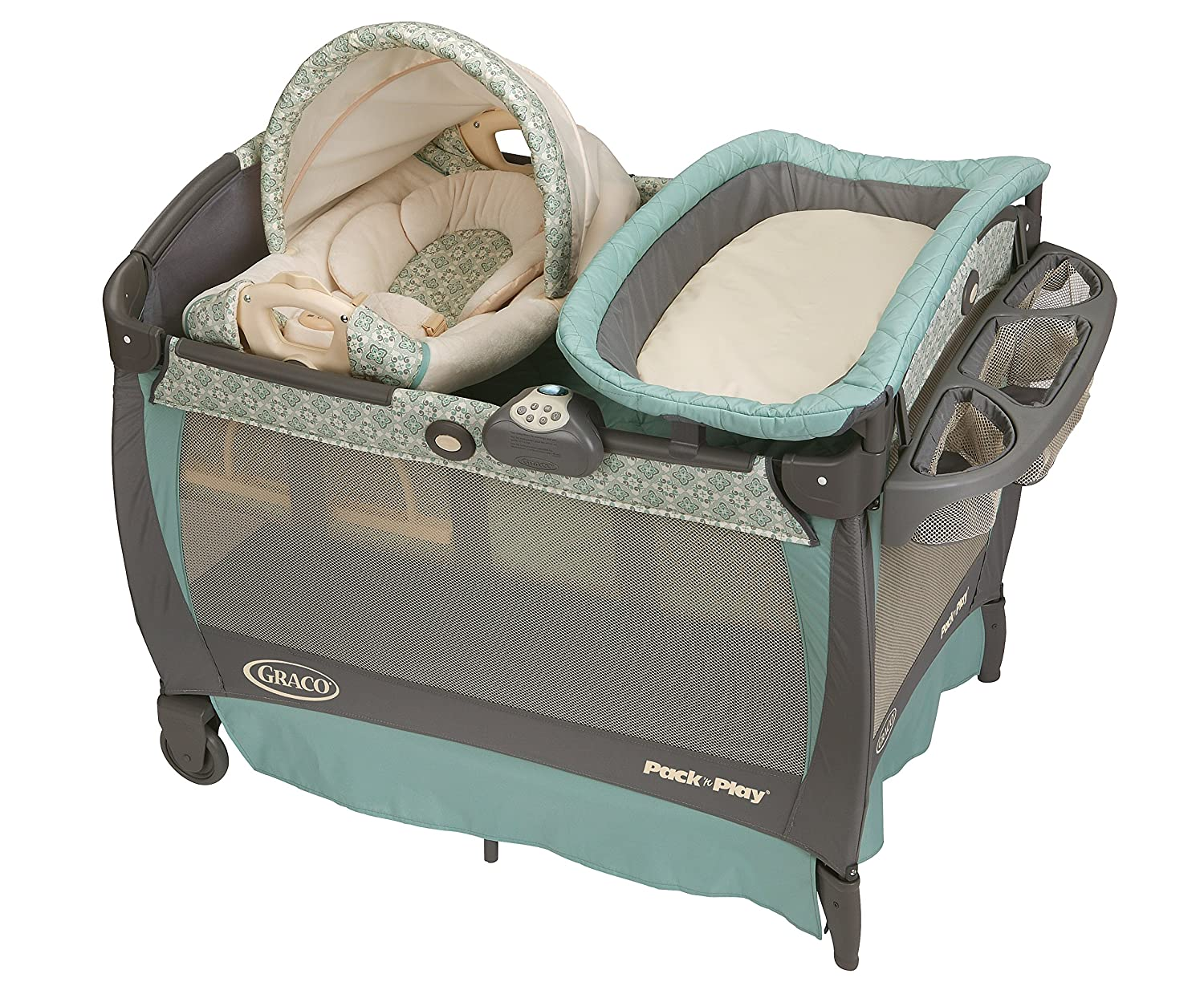Graco Pack'n Play Playard Bassinet Changer with Cuddle Cove Rocking Seat, Winslet