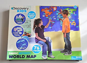 Discovery kids fabric activity world map 76 piece learning discovery kids fabric activity world map 76 piece learning activity 55 by 33 gumiabroncs Images