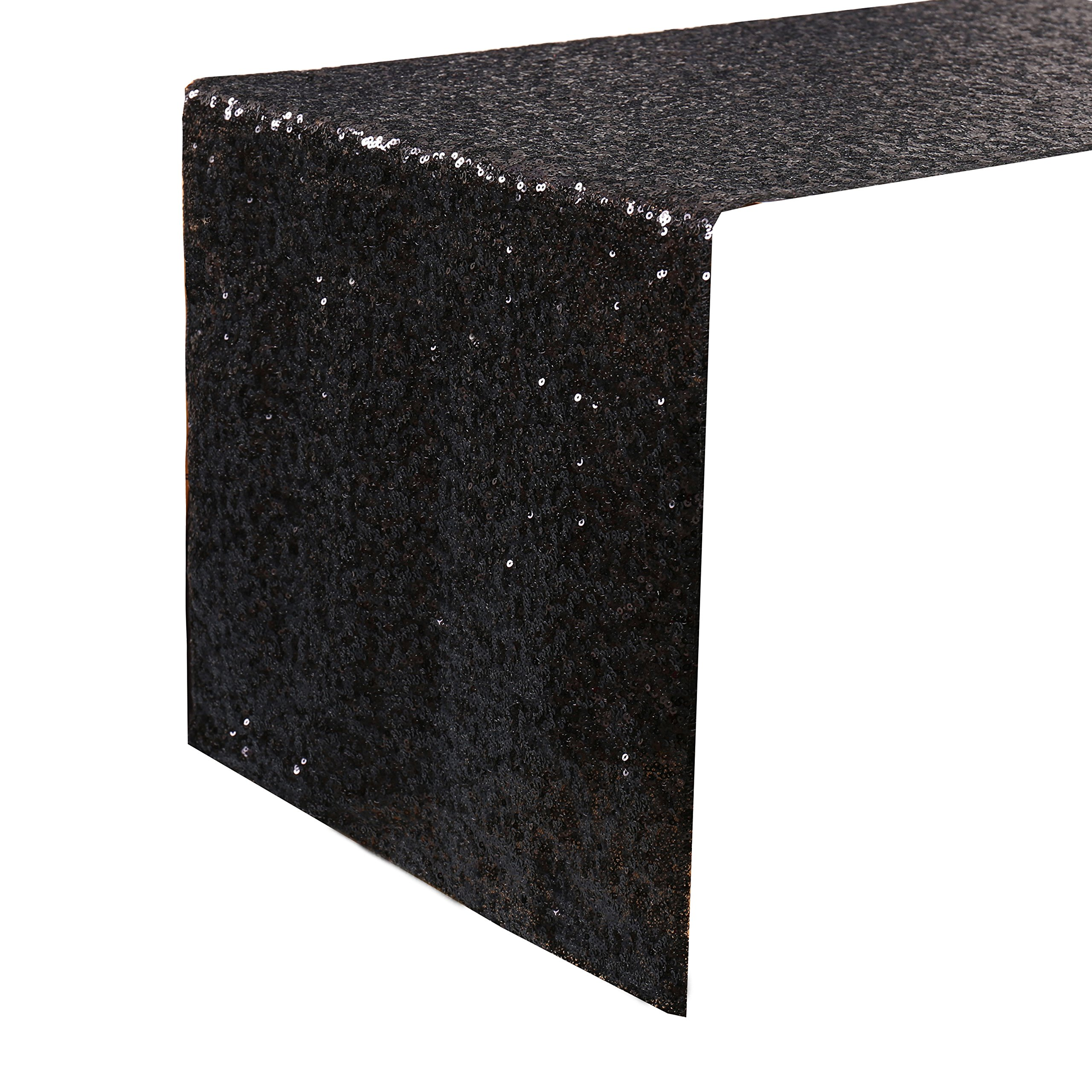 Kevin Textile 14 x 108 Inch Sparkly Sequin Table Runner for Party/Birthday/Wedding/Banquet Decorative Sequin Table Cloth, Blcak