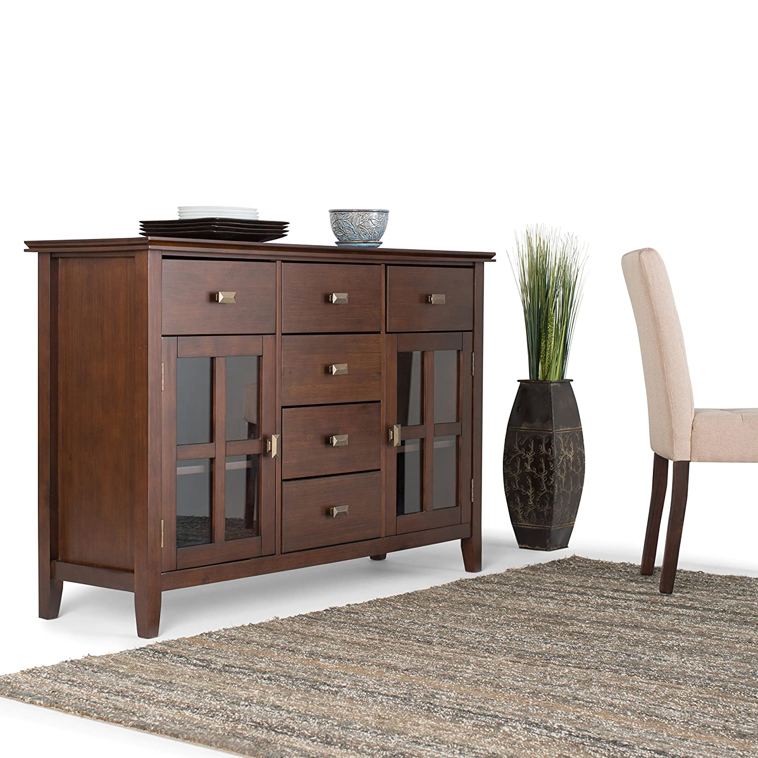 Amazon.com: Simpli Home Artisan Solid Wood Sideboard Buffet, Medium Auburn  Brown, Standard: Kitchen U0026 Dining