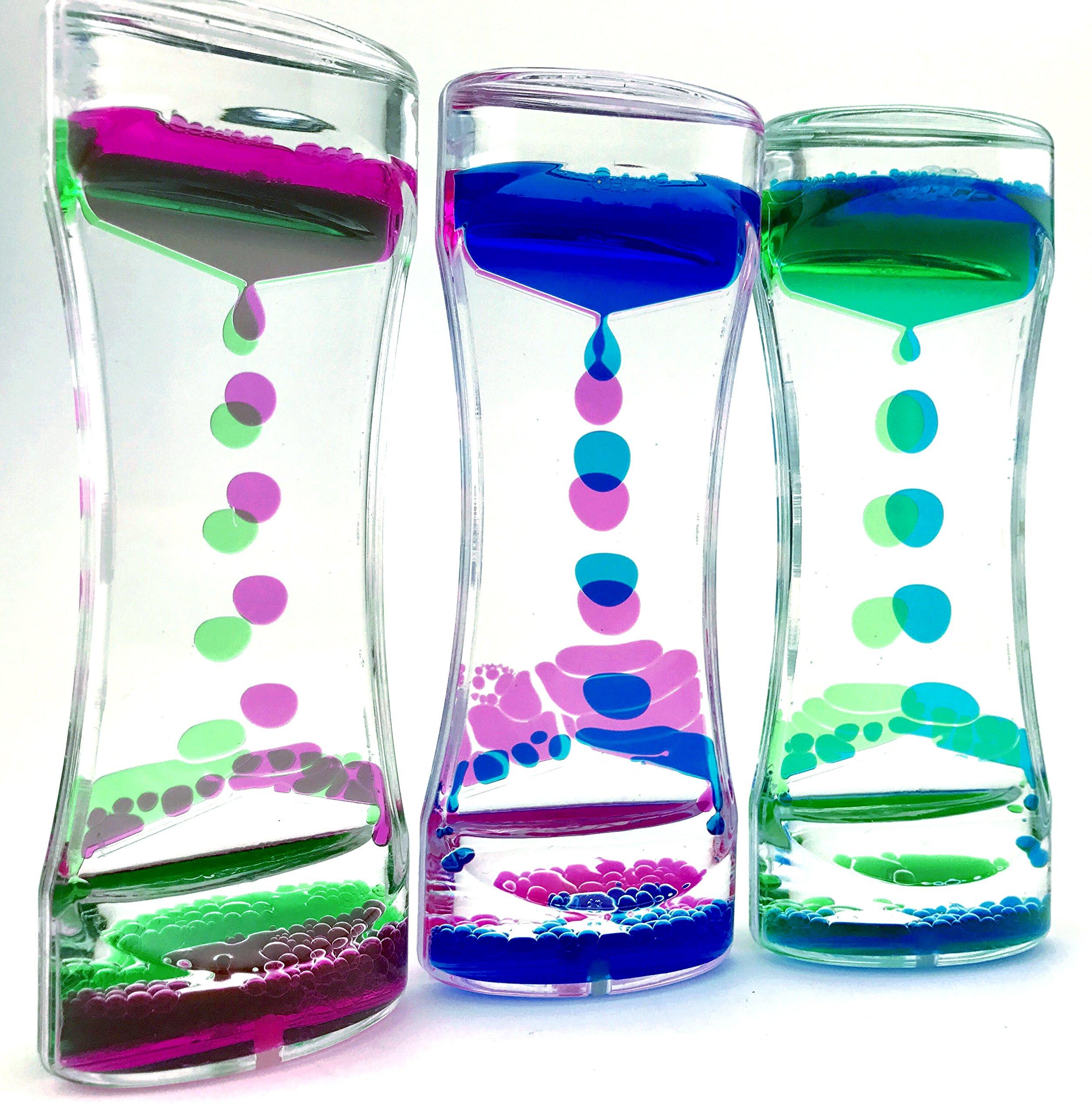 Adorox 3 Pcs/Set Liquid Bubble Drop Motion Wheel Zig Zag Desk Toy