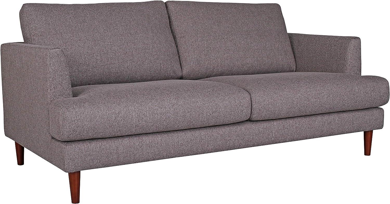 "Amazon Brand – Rivet Canton Deep Mid-Century Modern Loveseat Sofa Couch, 76.7""W, Dark Grey"