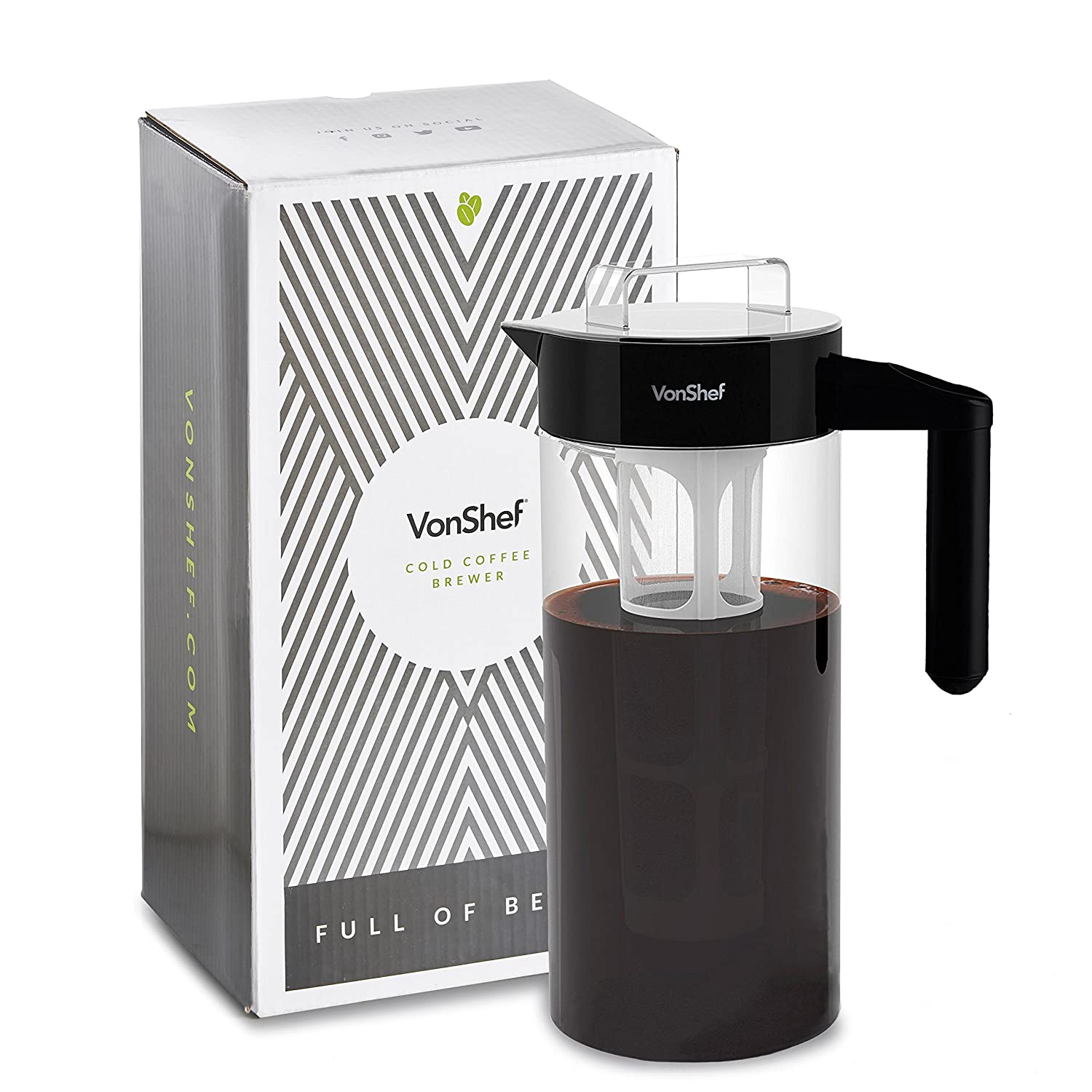 VonShef Cold Coffee Brewer 1300ML With Filter – Iced Coffee/Jug/Bottle