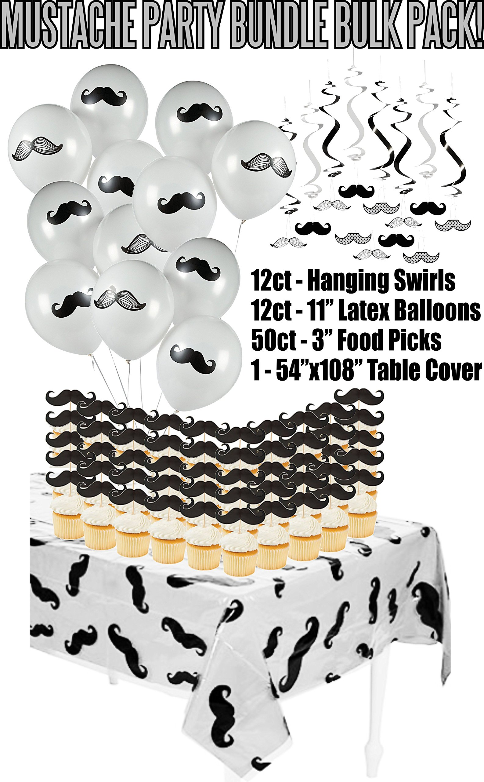 Mustache Baby Shower Birthday Party Supply Bundle Bulk Pack Includes 12 Swirl Decorations, 50 Mustache Food Picks, 12 Latex Balloons, and 1 Mustache Table Cover (BONUS! Matching Party Straw Pack)