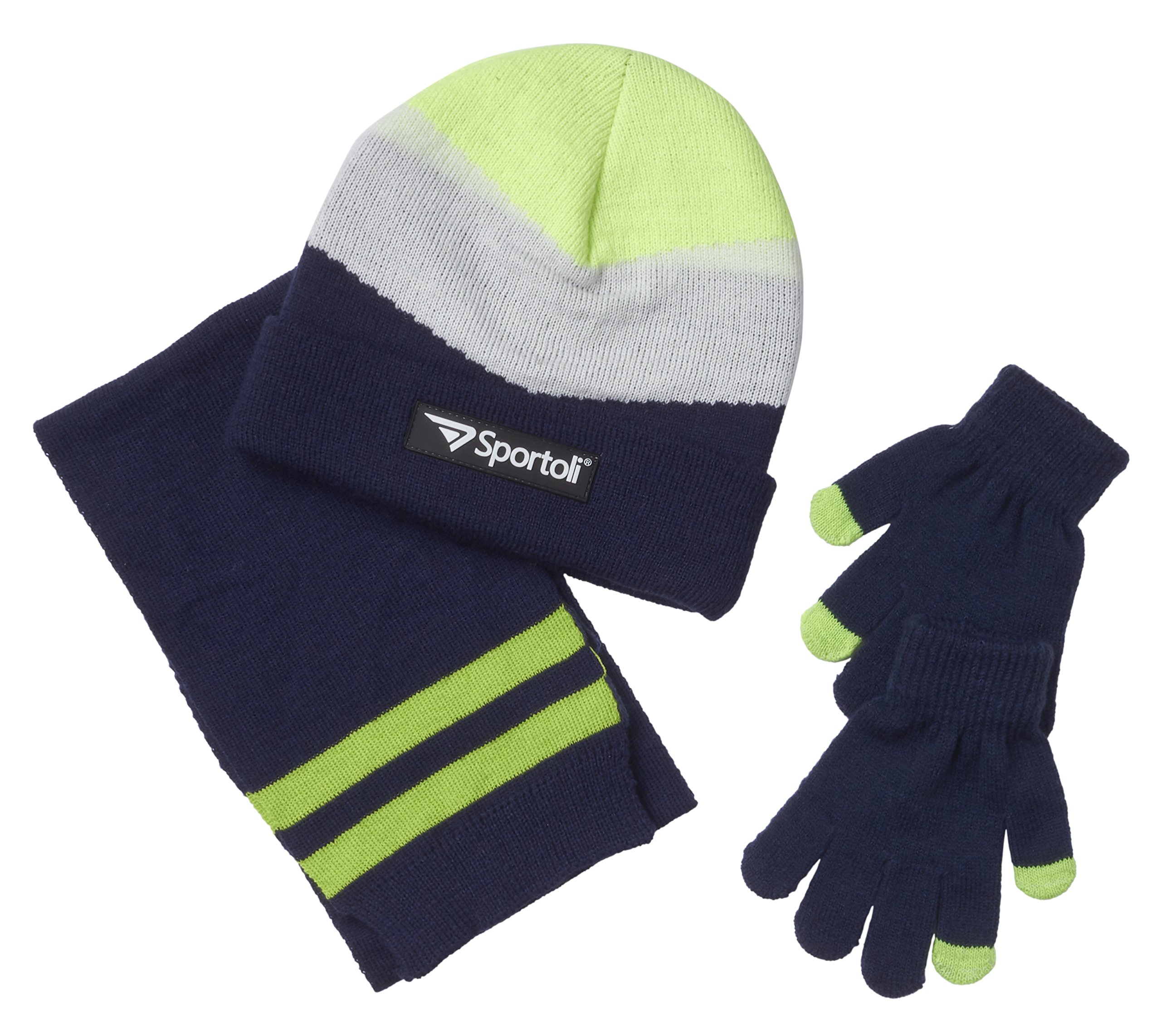 Sportoli Mens Knit Cold Weather Accessory Set Warm Pull On Hat Scarf and Gloves (Lime Chevron),Men / One Size