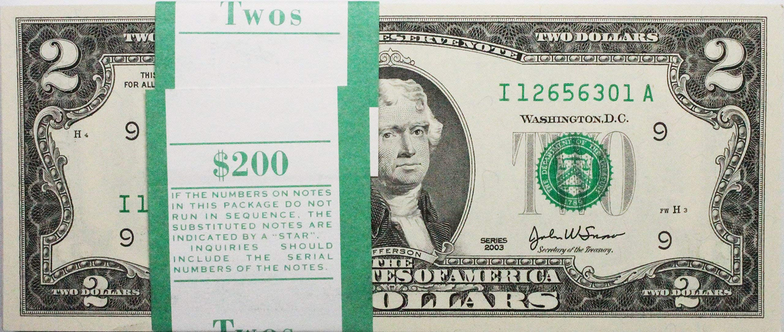 Two Dollar Bills - Stack of 100 Real Uncirculated and Rare $2 Bills (Mint Condition)