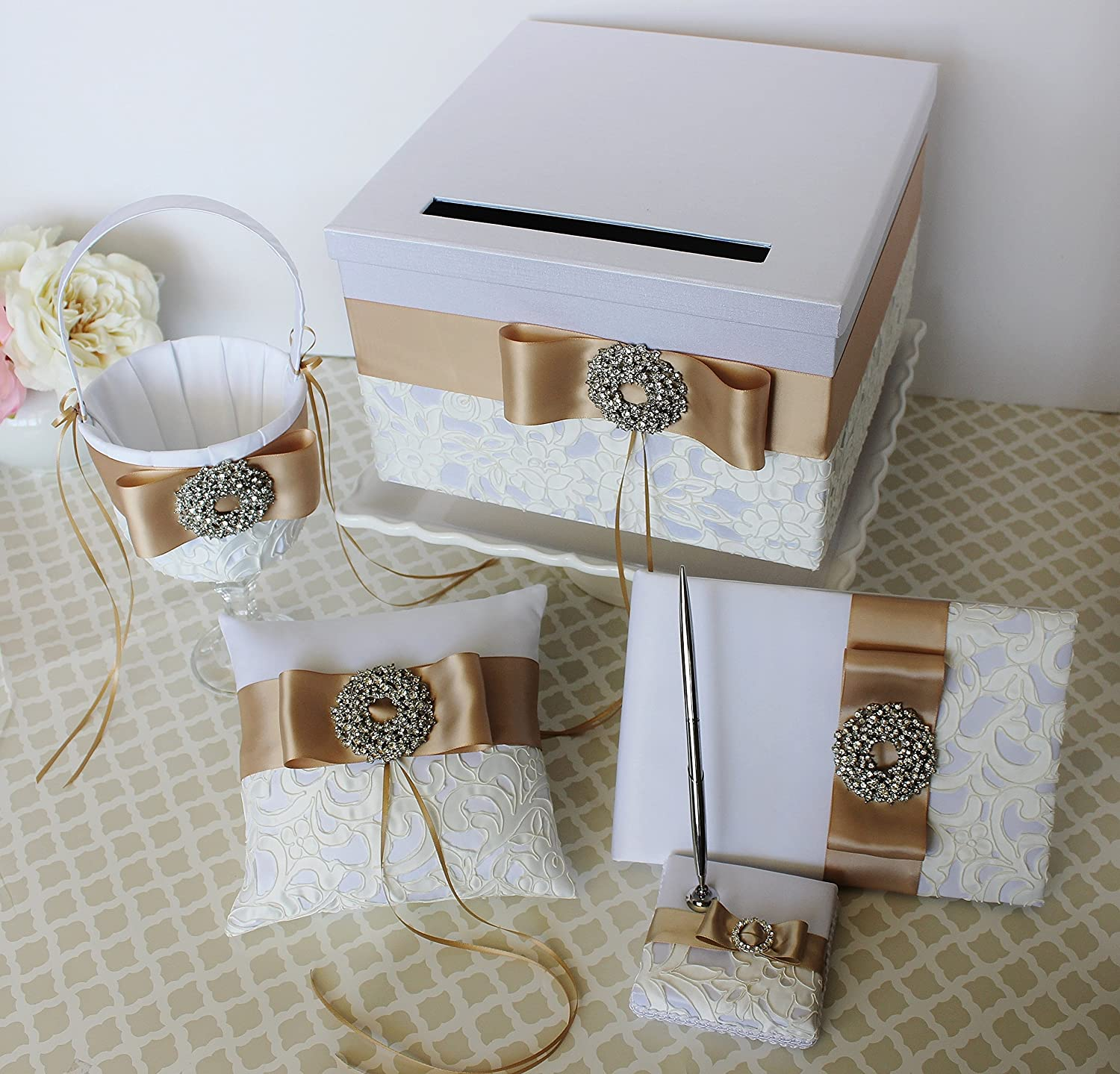 Amazon wedding card box money gift holder set with guest book amazon wedding card box money gift holder set with guest book pen set ring bearer pillow and flower girl basket champagne and white classic izmirmasajfo Images