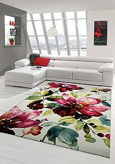 Designer Teppich Moderner Wohnzimmer Blumenmotiv Creme Grn Trkis Rosa Pink Grsse 120x170 Cm