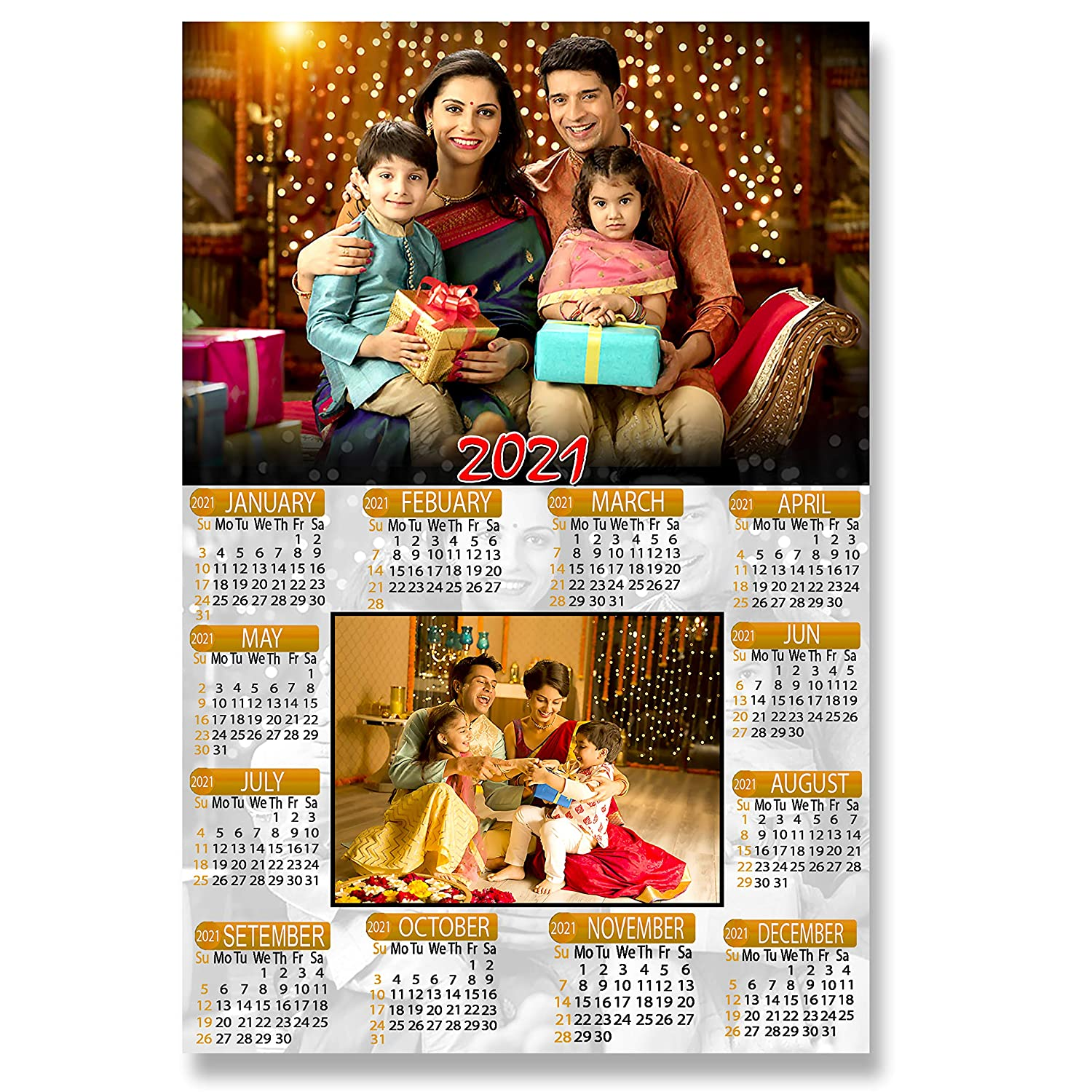 Flashing Click 2021 Customized Personalized 13 X 19 Inch Wall Calendar With Fully Laminated Dust Free Amazon In Office Products