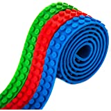 Reusable Adhesive Building Block Tape Rolls - 3 ROLL PACK(Red, Green, Blue) Compatible with All Major Brands - Creative Building Toy for Kids