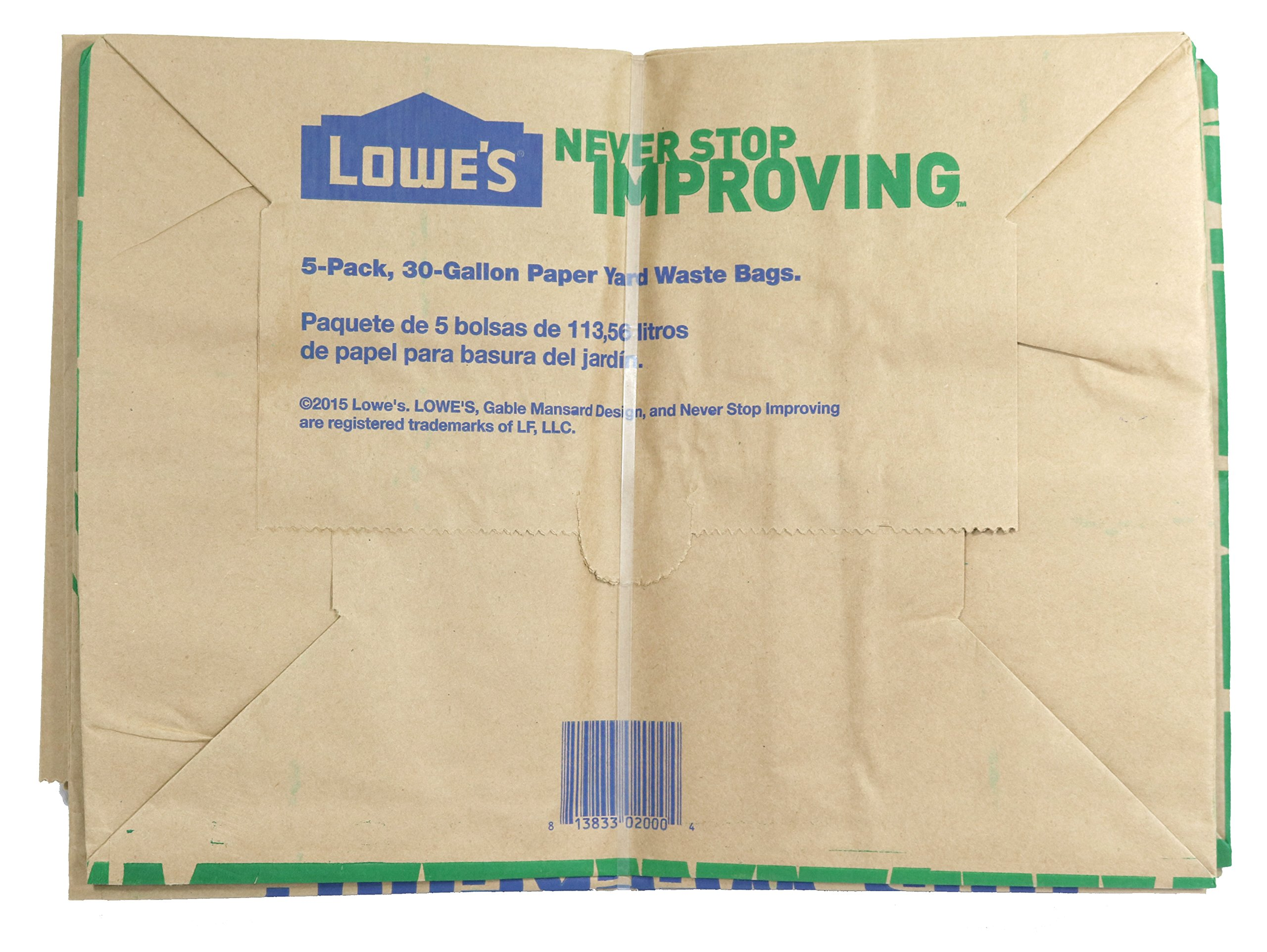 Lowe's H&PC-75419 (25 Count) 30 Gallon Heavy Duty Brown Paper Lawn and Refuse Bags for Home, Original Version by Lowe's (Image #4)