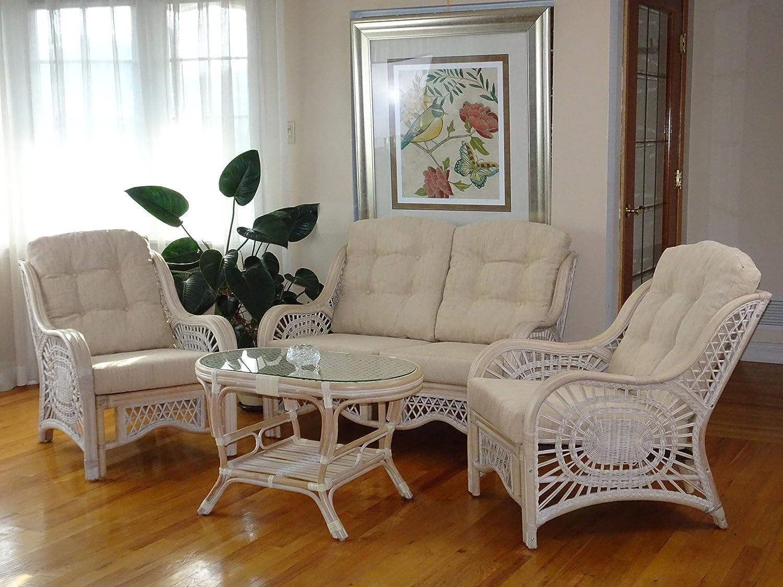 rattan living room furniture. amazon.com: malibu rattan wicker living room set 4 pieces 2 lounge chair loveseat/sofa coffee table white wash cream cushions: kitchen \u0026 dining furniture