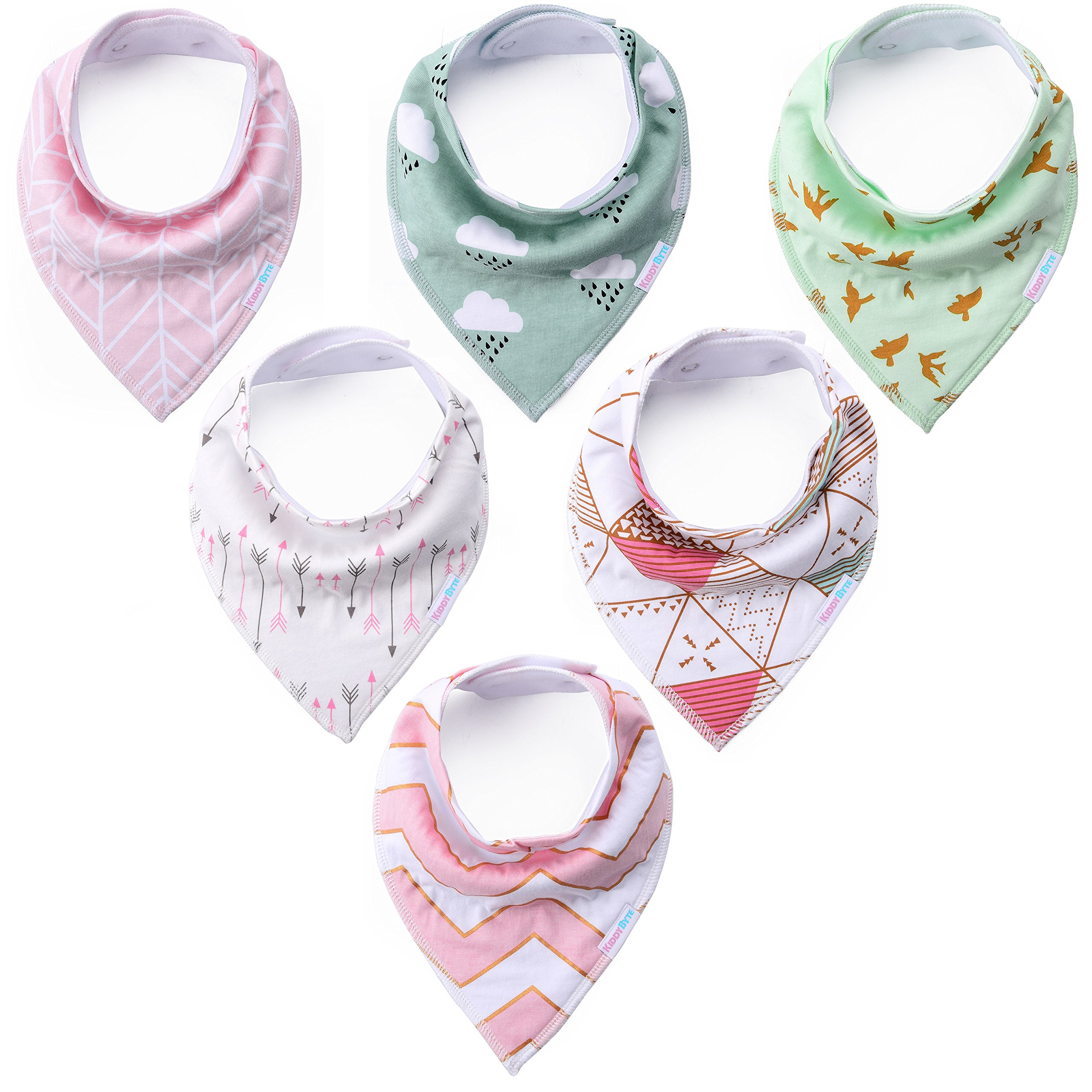 Baby Bandana Drool Bibs - Cute Kids Design for Girls, 100% Organic Cotton for Drooling and Teething, Perfect Baby Registry Gift for Infant and Newborn by KiddyByte