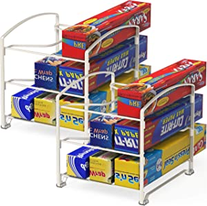 2 Pack - SimpleHouseware Kitchen Wrap Organizer Rack, White