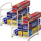 SimpleHouseware Kitchen Box Organizer Wrap Rack Foil Holder, White, Set of 2