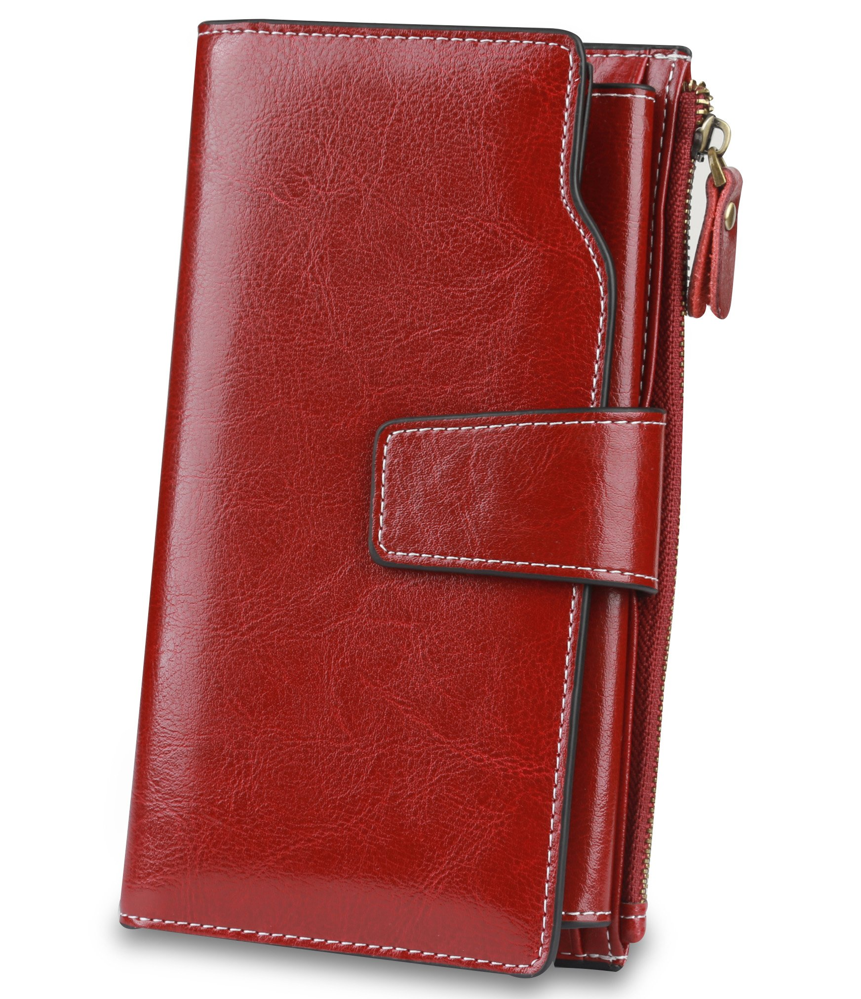 Women's Trifold Genuine Leather Wallet RFID Blocking Large Capacity Organizer Clutch Luxury Ladies Purse Credit Card Holder Red