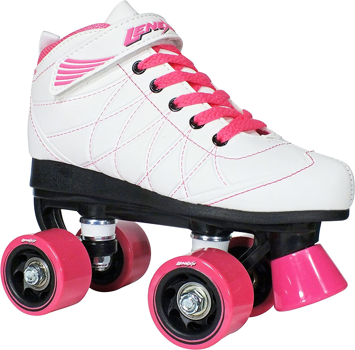 Lenexa Hoopla Kids Roller Skates for Kids Children – Girls and Boys – Kids Rollerskates – Childrens Quad Derby Roller Skate for Youths Boy Girl – Kids Skates White w Pink Wheels