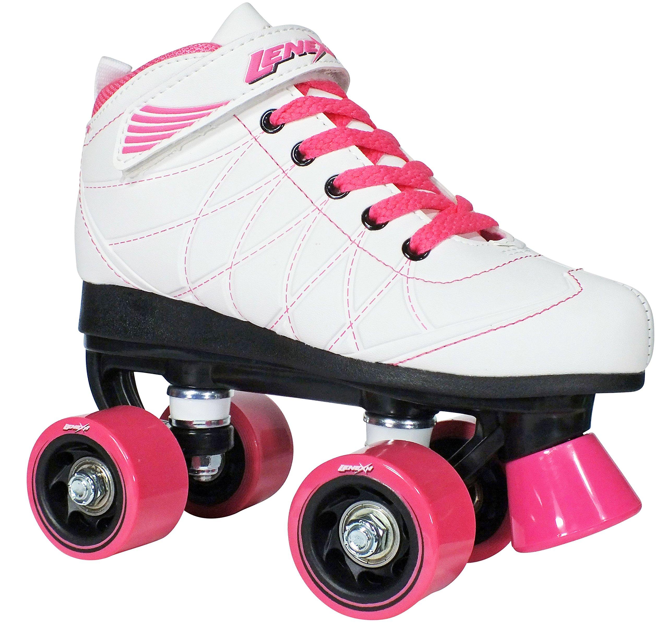 Lenexa Hoopla Kids Roller Skates for Kids Children - Girls and Boys - Kids Rollerskates - Childrens Quad Derby Roller Skate for Youths Boy/Girl - Kids Skates (White w/Pink Wheels Size 4)