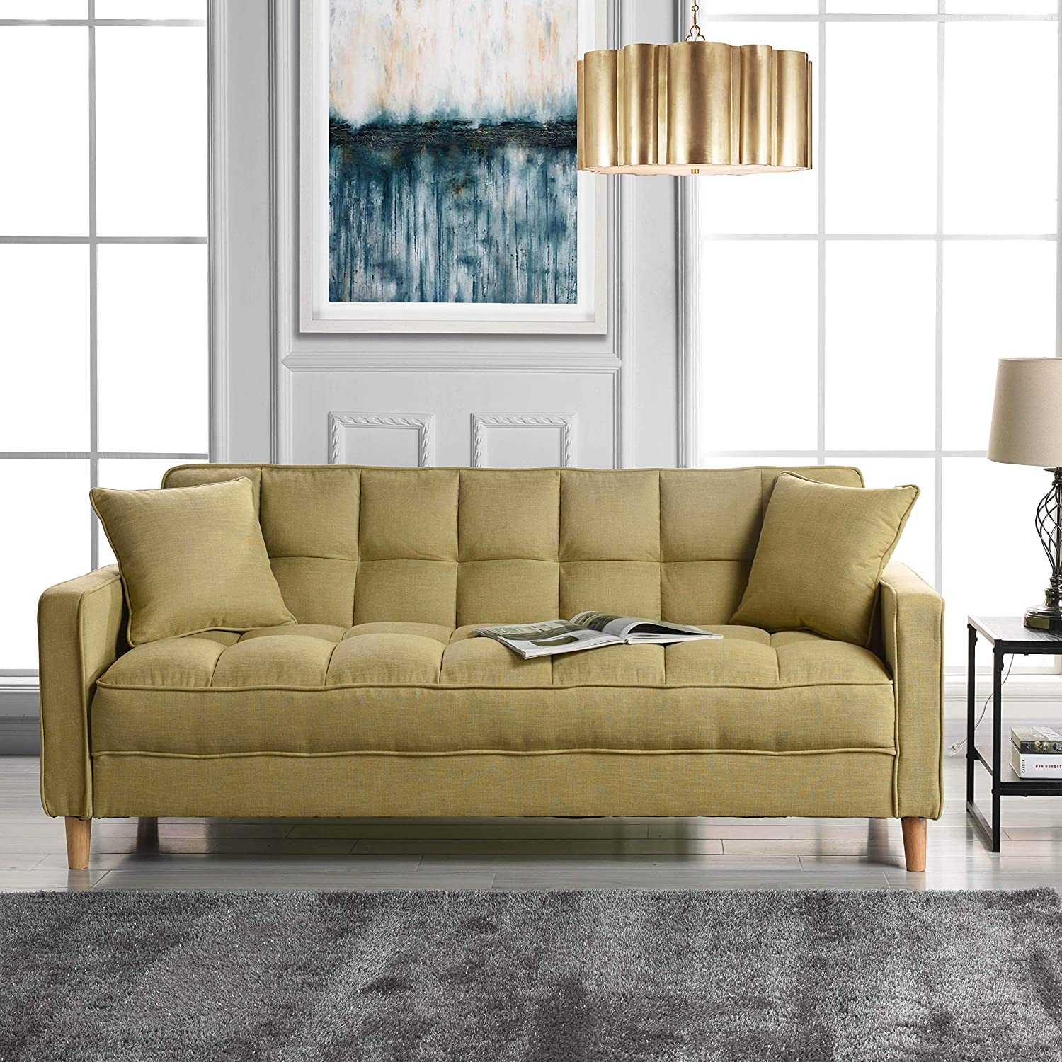 Modern Linen Fabric Tufted Small Space Living Room Sofa Couch (Yellow)