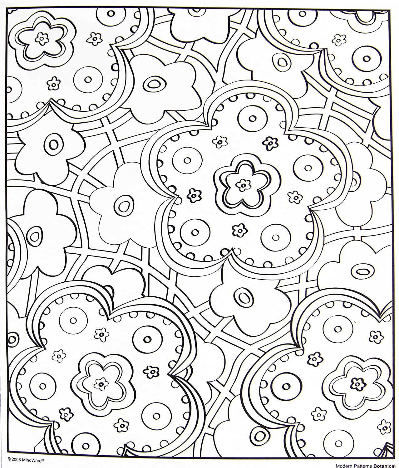 amazoncom mindware modern patterns botanical coloring book 24 unique puzzles teaches creativity and fosters imagination mindware toys games