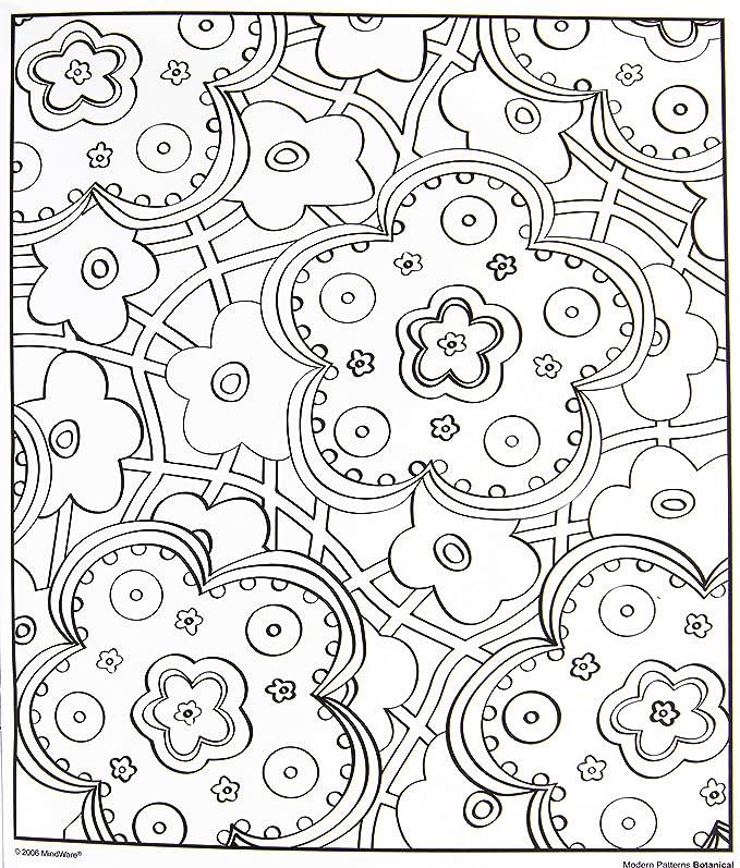 Amazon.com: MindWare - Modern Patterns Botanical Coloring Book - 24 ...