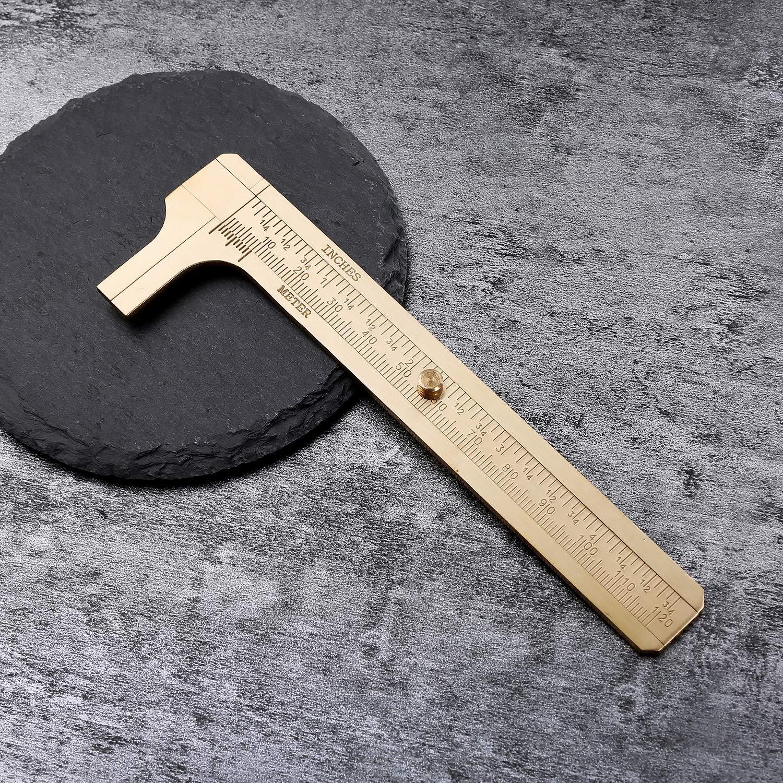 4,72 Shuxy Retro Messschieber Kupferlegierung Mini Messing Schiebetaschensattel Metall Double Scale zum Messung Edelsteine und Schmuckkomponenten Perlendraht Gitarre Reparatur 120 mm