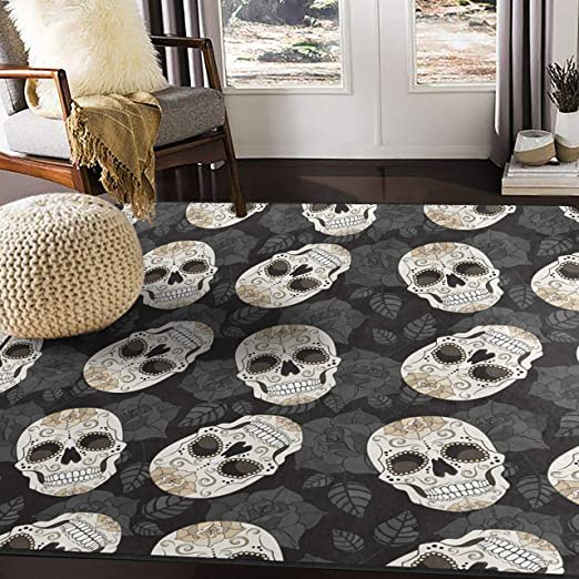 Amazon Com Alaza Sugar Skull Floral Area Rug Rugs Carpet For Living Room Bedroom 7 X5 Furniture Decor