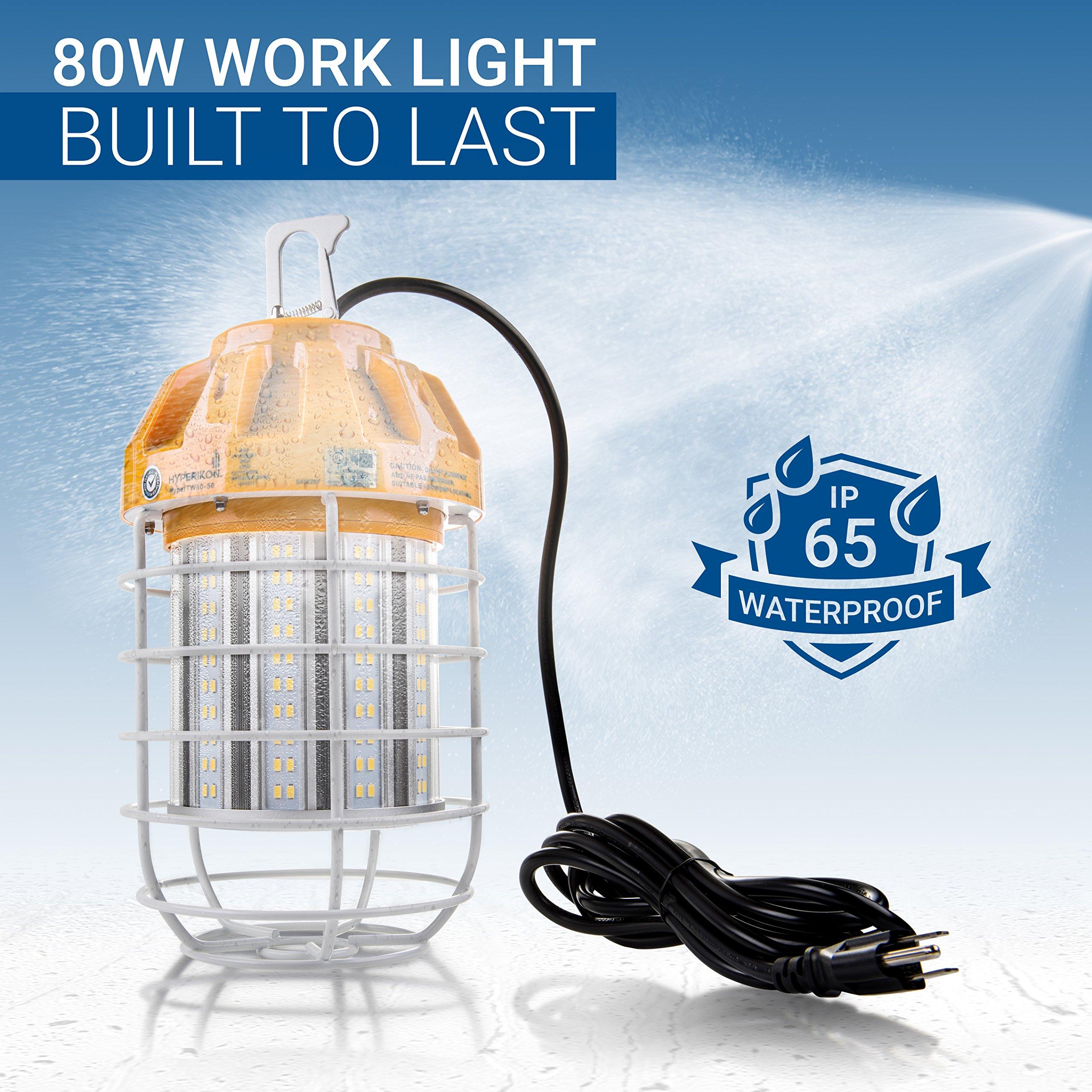 Hyperikon 80W LED Temporary Work Light Fixture, 9600 Lumens, Orange Construction Drop Light, LED High Bay Lighting, UL IP65 Waterproof, 5000K by Hyperikon (Image #5)
