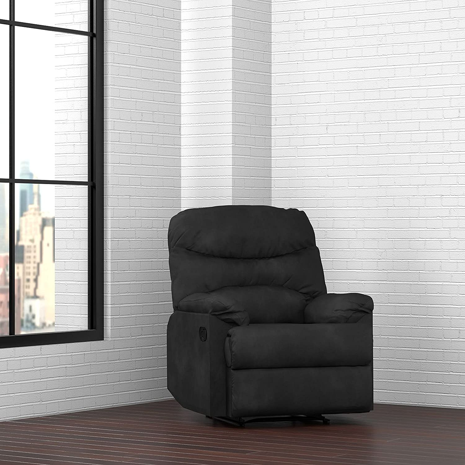 Amazon.com ProLounger Wall Hugger Recliner Chair in Black Microfiber Kitchen u0026 Dining & Amazon.com: ProLounger Wall Hugger Recliner Chair in Black ... islam-shia.org