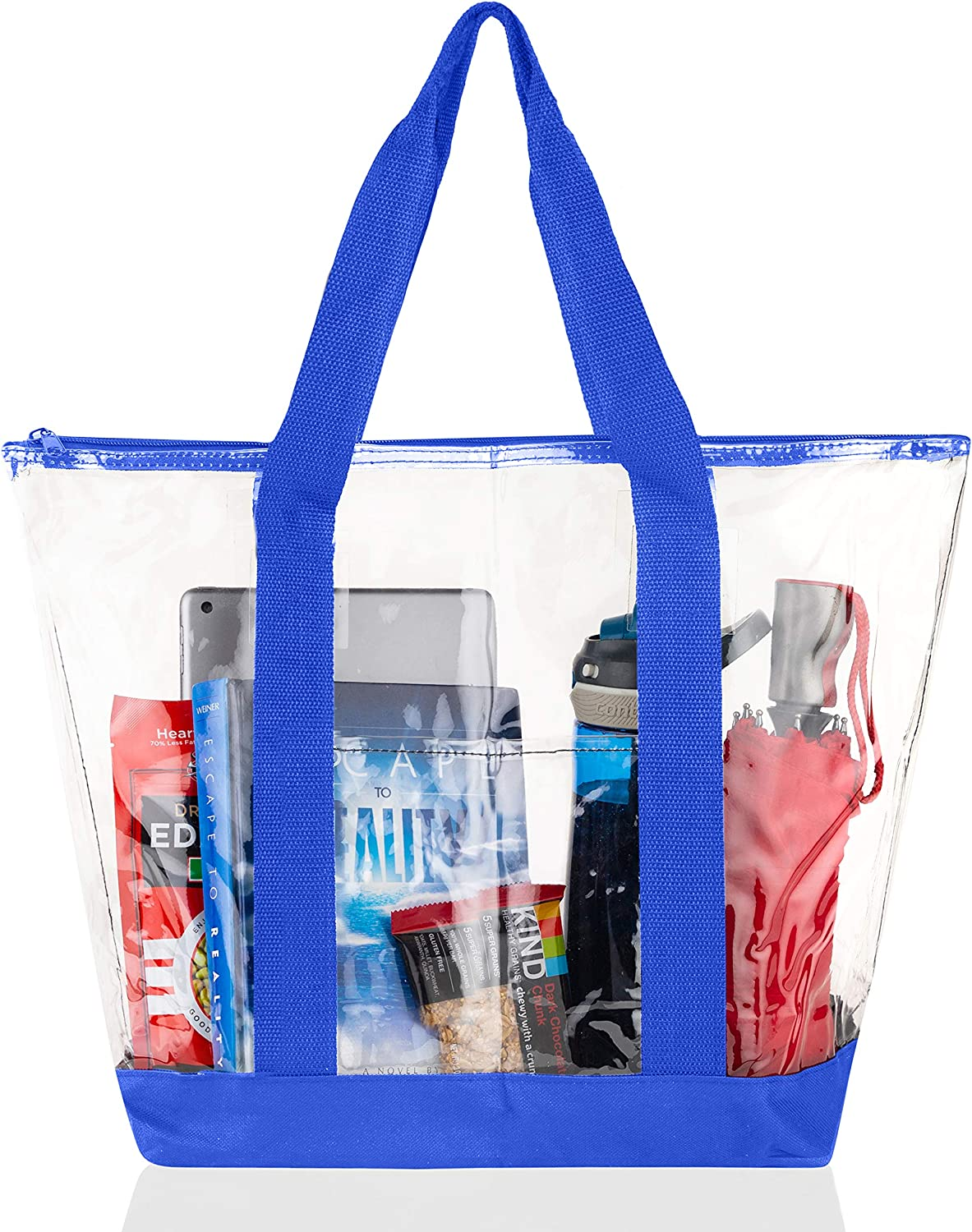Bags for Less Large Clear Vinyl Tote Bags Shoulder Handbag (Royal Blue)