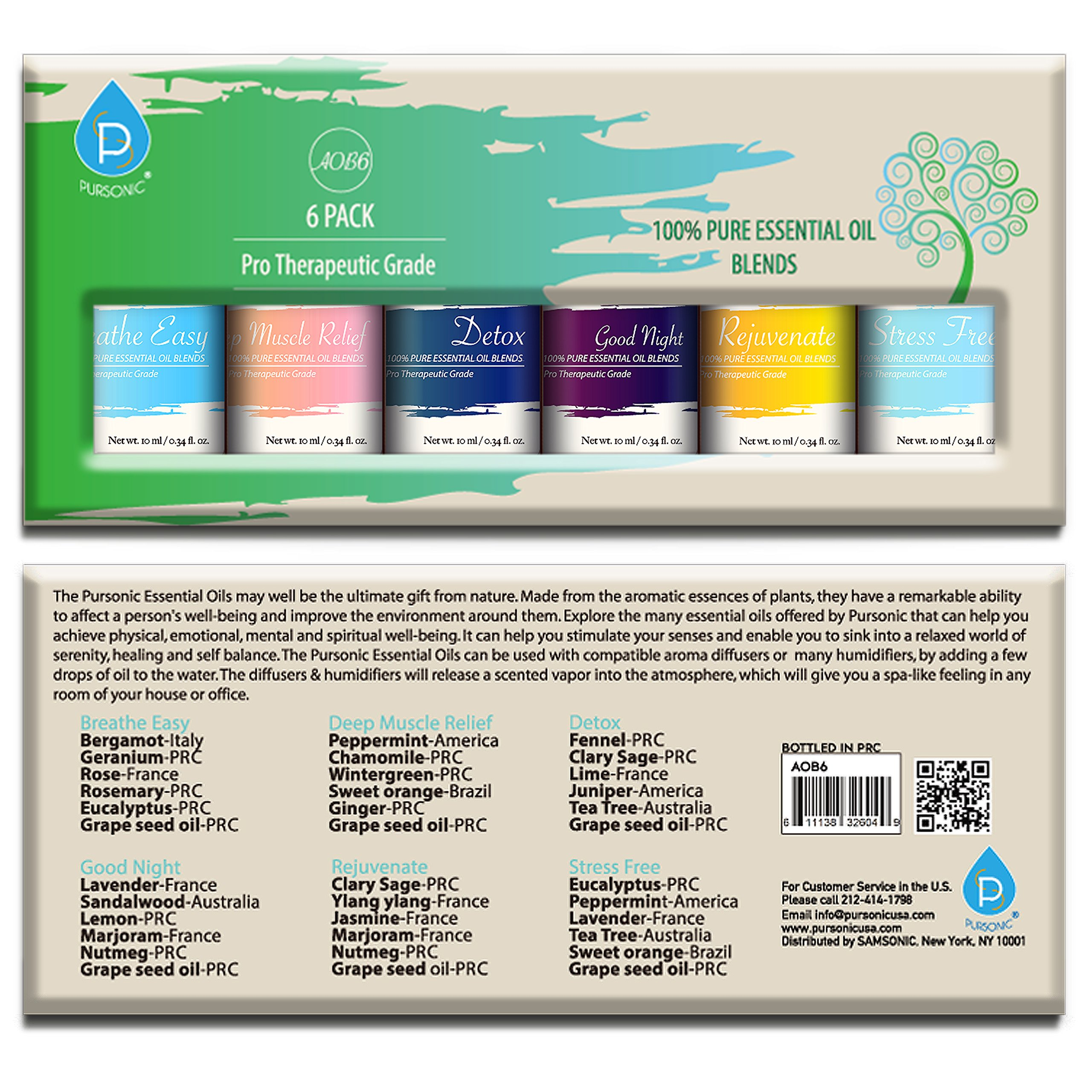 Pursonic 100% Pure Essential Oil Blends Gift Set, 0.55 Pound