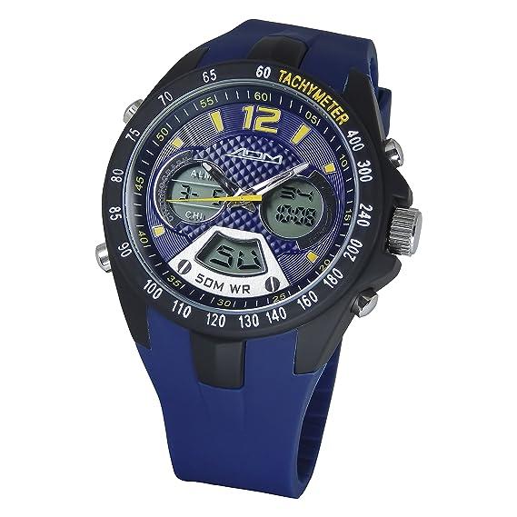 American diseño de Philadelphia de la máquina Hombres de cuarzo acero inoxidable y silicona reloj deportivo